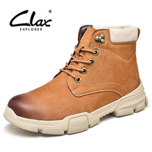 CLAX Mens Boots High Top 2019 Spring Autumn Casual Shoe Male Leather Footwear Fashion Designer Motorcycle Boot Big Size