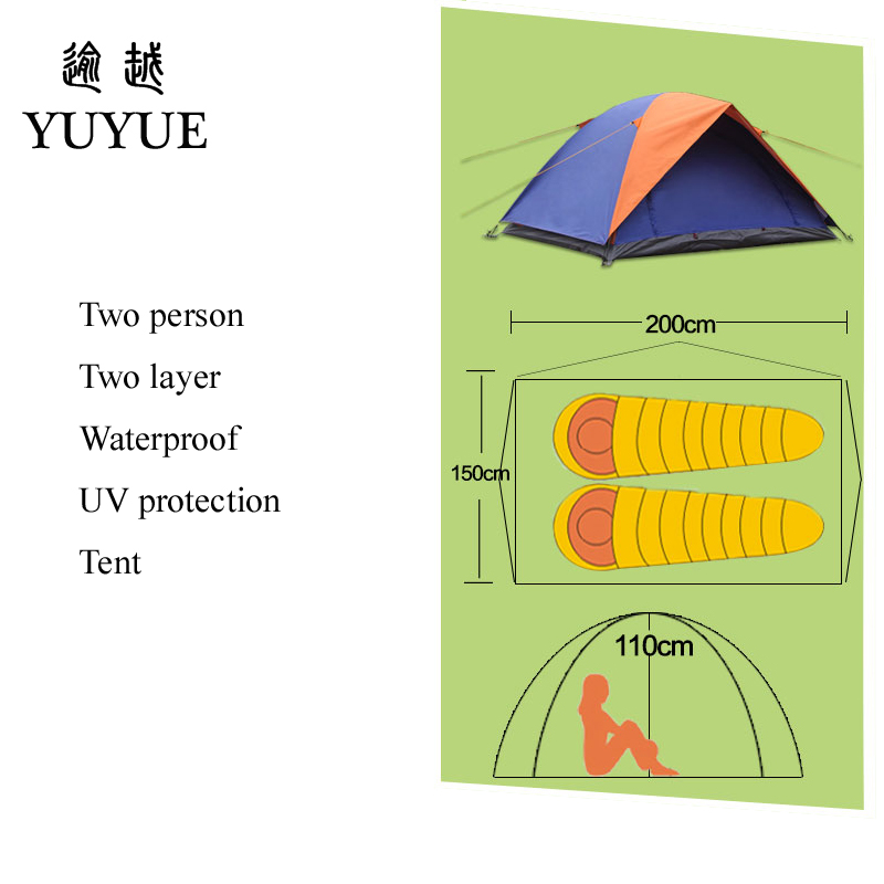 2 person UV protection camping tents for cleary day hiking tent for winter fishing double layer outdoor ultralight tent   5