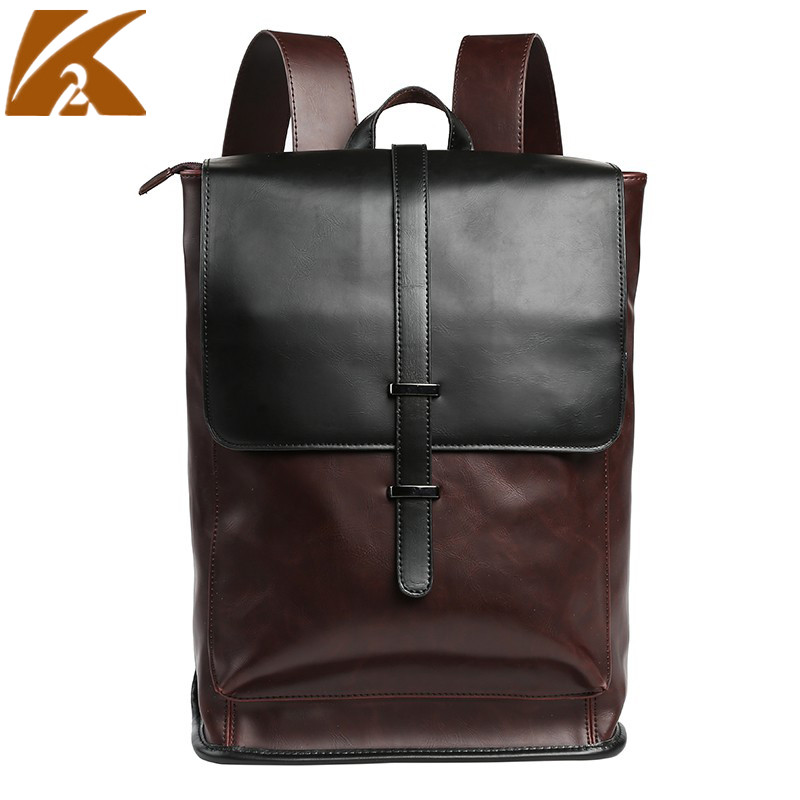 2018 Vintage Genuine Leather Backpack Men Crazy Horse Rucksack Male Business Laptop Bag Boys School Shoulder Bags Travel Bagpack