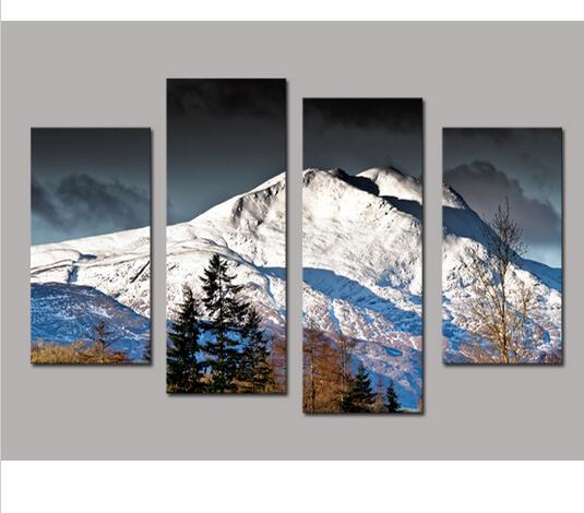 4PCS High Quality Painting Home Living Room Wall Decor Grand Mountain Chain  Oil Painting Canvas Art
