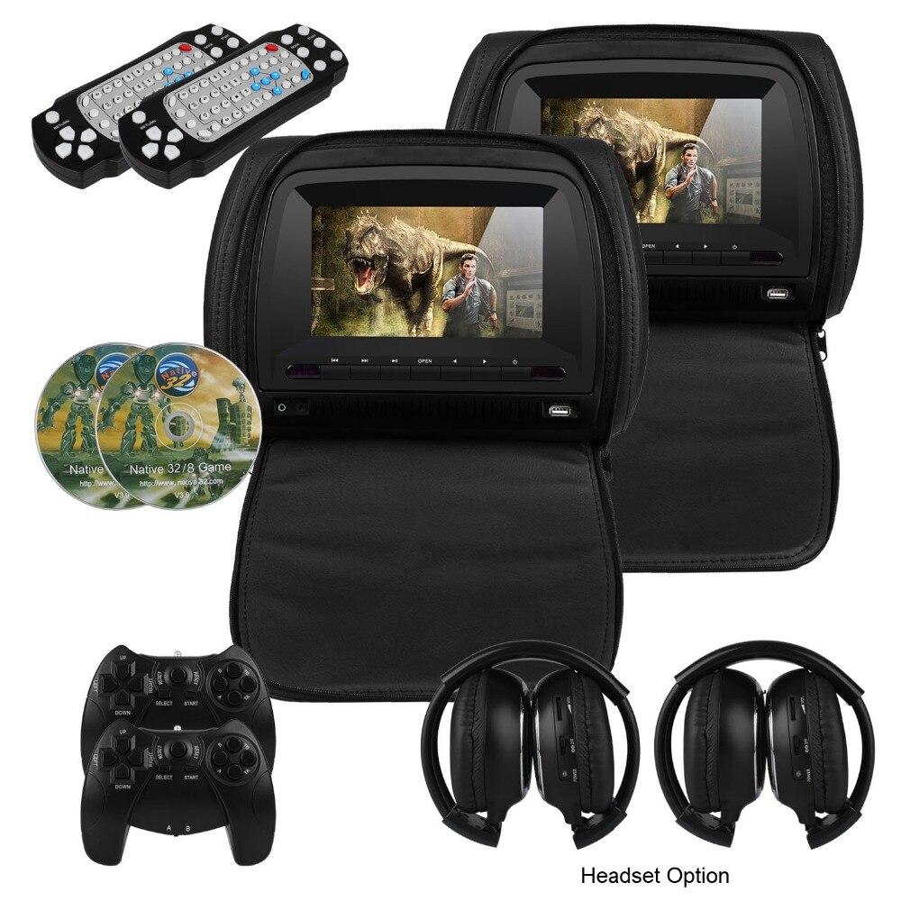 7 pouce De Voiture Appui-Tête Lecteur DVD De Voiture Arrière Siège Media Player avec FM/IR/USB/SD (MP5)/Sans Fil Jeu/Fermeture À Glissière (2 pcs)