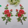 Hot peony rose flower 1pair clothes embroidered lace fabric Iron on patch Sew on patche clothing cheongsam DIY accessories