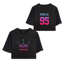 MAMAMOO Purple kpop shirt Summer Women Sexy Bare Kpop Top Women Lovely T-shirts Sexy Short Sleeve Riverdale Crop top 4XL(China)
