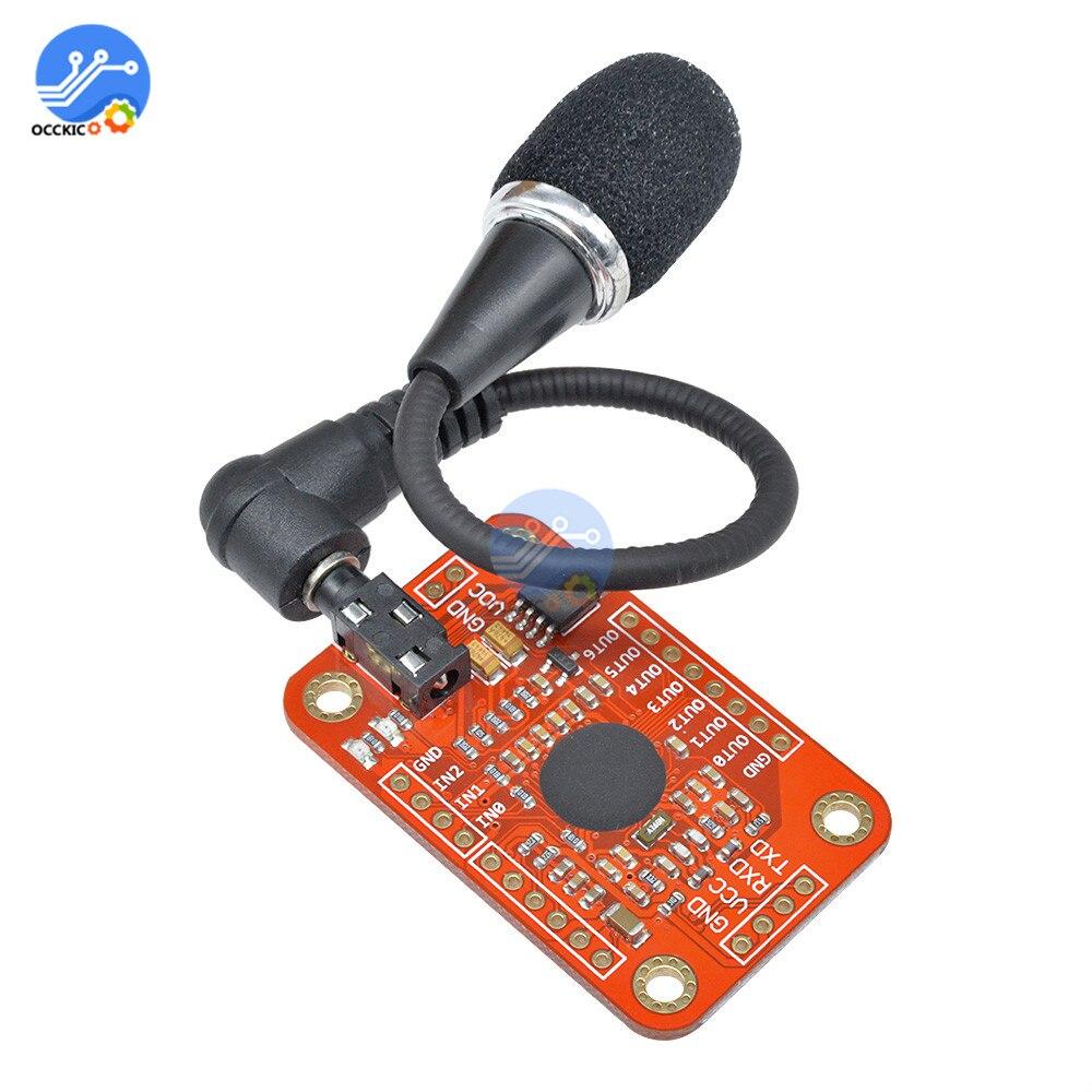 1set Módulo de reconocimiento de voz V3 Reconocimiento de velocidad compatible con Ard para Arduino soporte 80 tipos de tarjeta de sonido de voz