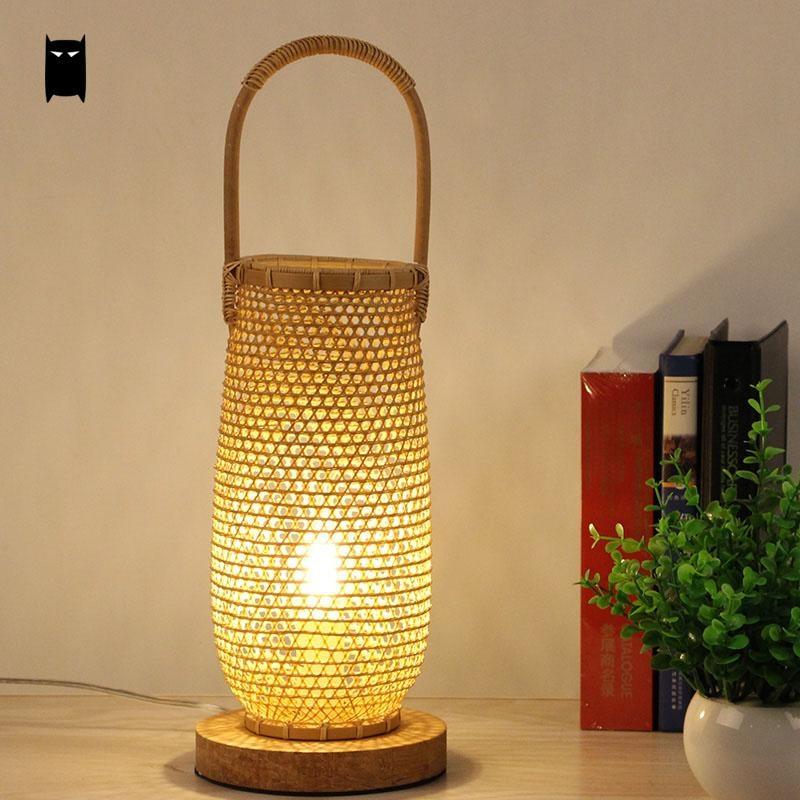 Handmade Bamboo Wicker Rattan Basket Shade Table Lamp