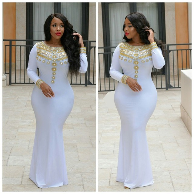 Long Sleeves Gold Beaded Prom Dresses 2017 Floor Length White Party Dress  Spandex Arabic Dubai African Mermaid Eveng Gowns 51aef71988c5