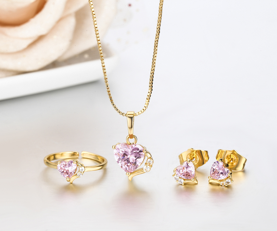 Cute Gold Color Peach Heart Pink CZ Zircon Pendant Necklace Stud ...