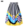 Summer Fashion Women Midi Skirt Pleated Adult Faldas Saias Femininas Striped Elastic High Waist Skirts FS0040