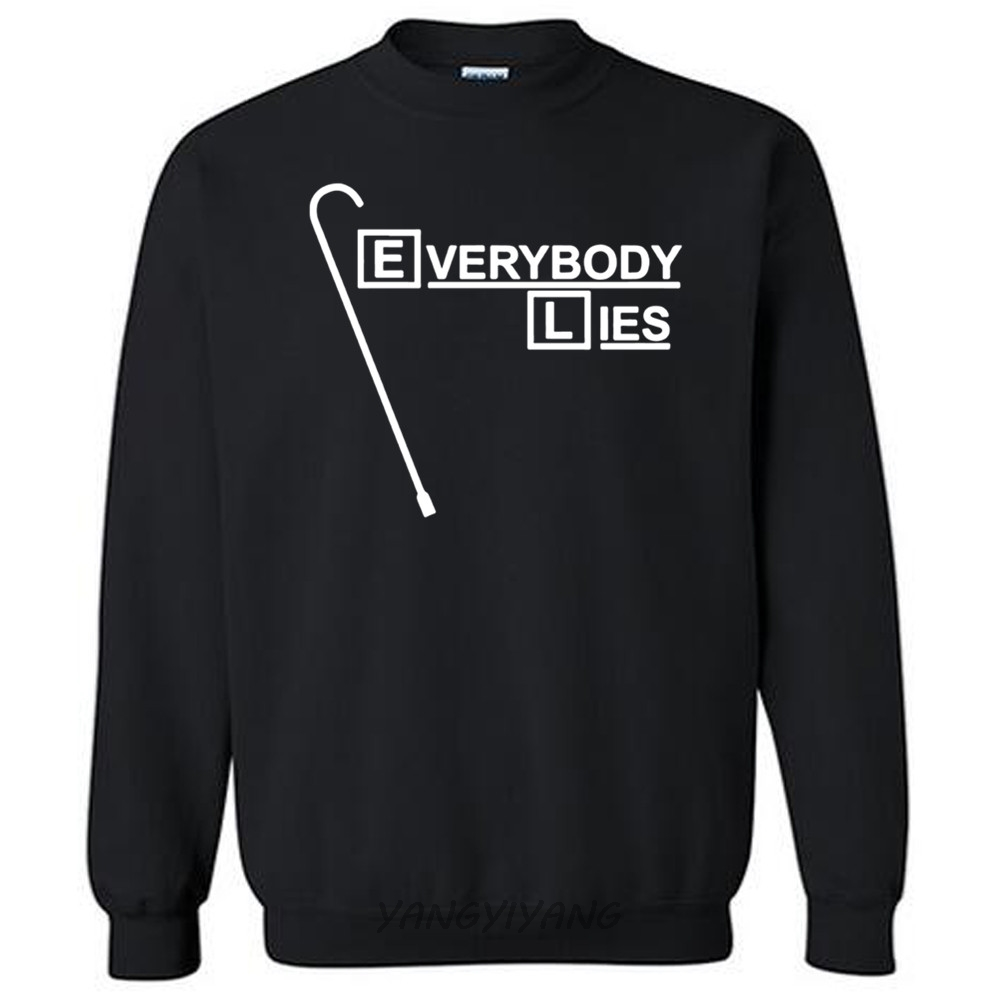 men white sweatshirt Dr House hoodies Everybody Lies cotton hoody new drop shipping