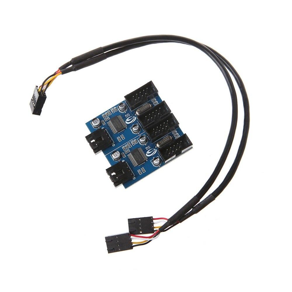 New PC Case Internal 9-Pin USB 2.0 Header Male 1 To 4 Female Splitter PCB Chipset Extender Enhanced 30cm C26 циркуль new 1 1 30 1cm 30cm