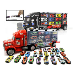 Xingyuanda childrens toys portable track container truck with alloy iron pull back car model boy gift