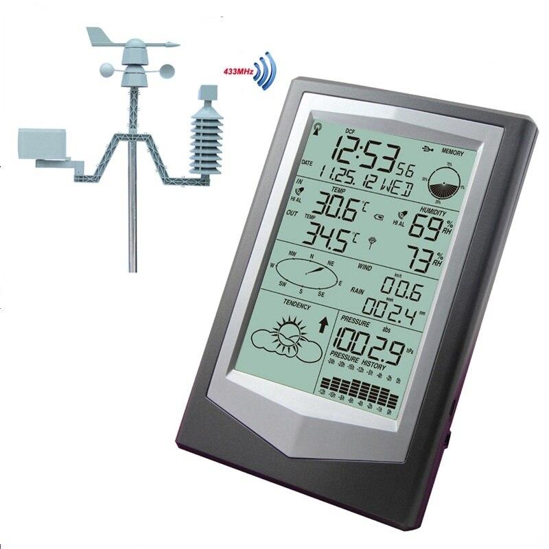 Беспроводной метеостанция с PC Link бытовые большой ЖК-дисплей Термометр-Гигрометр атмосферное Давление Прогноз погоды часы WS1040