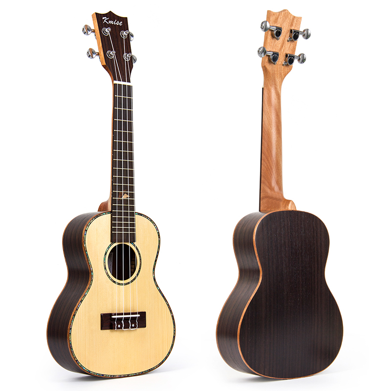 Kmise Concert Ukulele Solid Spruce Ukelele Uke 23 inch 18 Fret 4 String Acoustic Hawaii Guitar Rosewood Back Side acouway 21 inch soprano 23 inch concert electric ukulele uke 4 string hawaii guitar musical instrument with built in eq pickup