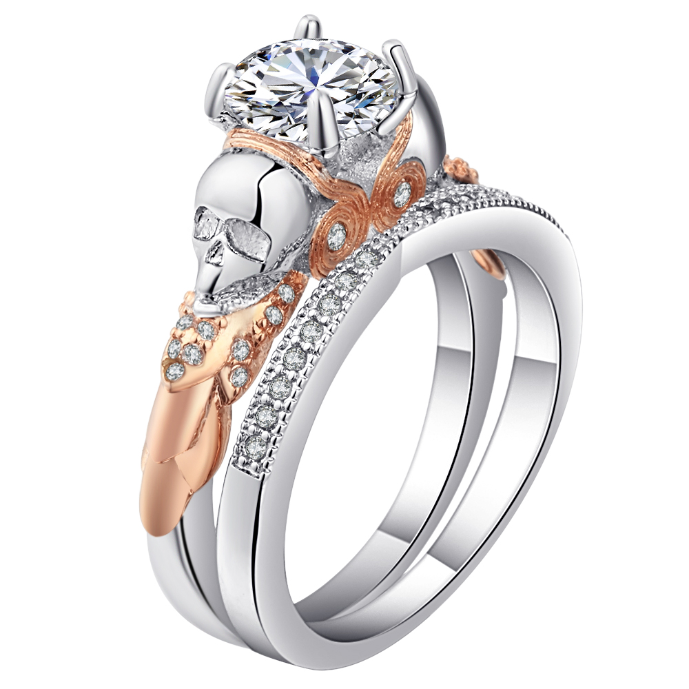 Skull Ring Sets Rhodium Plated big clear cz crystal Womens Wedding promise Ring Punk Female Finger ring Jewelry