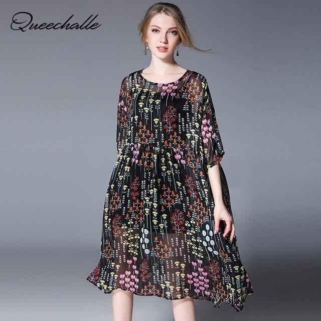ce7b973fdf1 Двойка шифоновые платья для Для женщин 2018 сезон  весна–лето половина  рукава Мода Цветочный