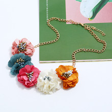 HOCOLE Bohemia Fabric Flower Big Choker Necklaces For Women Handmade Camellia Gold Chain Statement Necklace Wedding Jewelry Gift