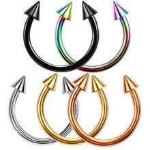 2шт 16 г нержавеющая сталь кольцо для пирсинга носа Подкова шип перегородка пирсинг для бровей Спираль пирсинг губ Nariz
