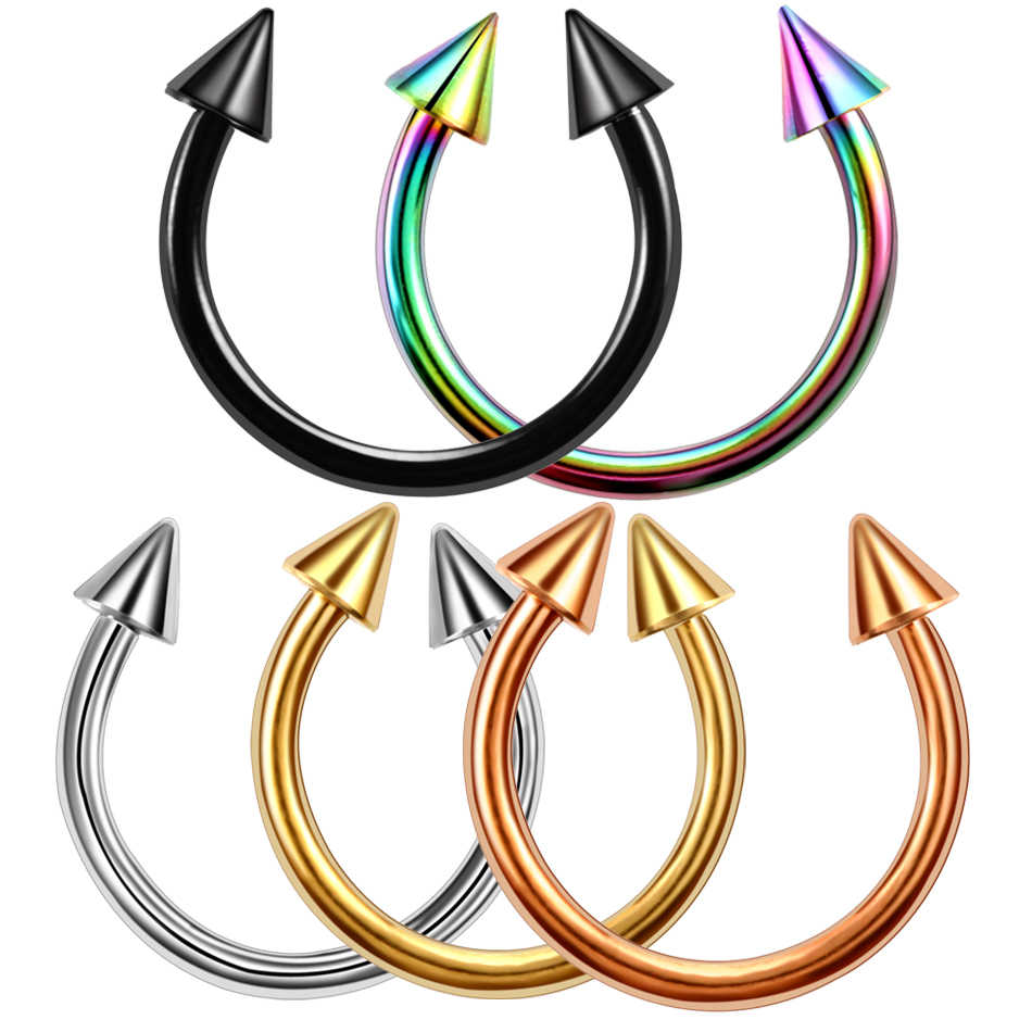 2pcs Colorful Stainless Steel Nose Ring Piercing Horseshoe Spike Septum Piercing Eyebrow Tragus Helix Pircing Lip Piercing Nariz