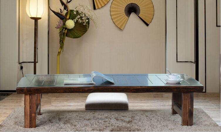 Японский пол складной стол прямоугольный 150 см Азиатский Античная Мебель традиционные Гостиная твердой древесины низкий стол для столовой