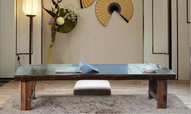 Jepang Lantai Lipat Meja Gi Panjang 150 Cm Asia Antik Furniture Ruang Tamu Tradisional Kayu Solid