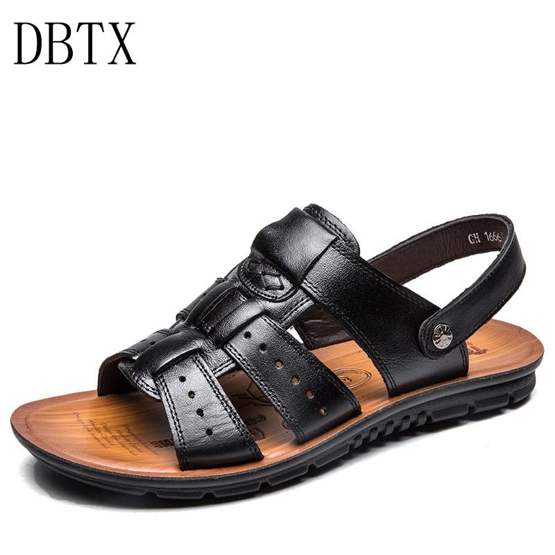 Homens Sandálias de Couro Nova de Verão Praia Sandálias de Passeio para o Homem Marca de Moda Ao Ar Livre Masculino Sapatos Casuais Grande tamanho 38-47 614