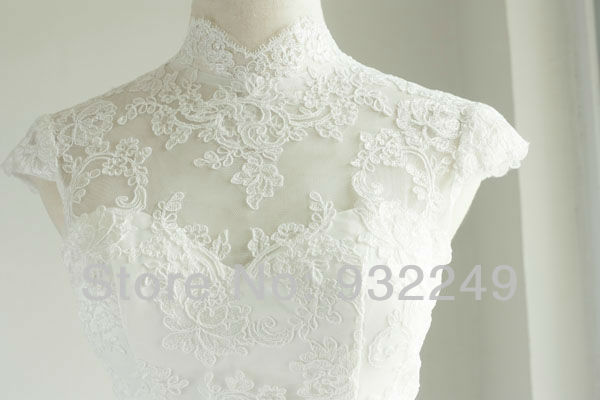 f00466e2c304 High Neckline White Tea Length Lace Dress Traditional Wedding Dress Sheath  Cap Sleeves-in Wedding Dresses from Weddings & Events on Aliexpress.com |  Alibaba ...