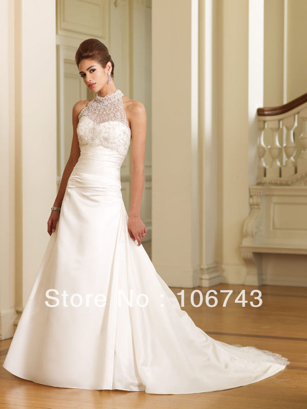 Free Shipping 2016 New Fashion Hot Seller White High Neck Lace Halter Formal Celebrity Gowns Lace Dress Good Wedding Dresses
