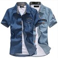 Джинсовые рубашки мужчины с коротким рукавом тонкий рубашки мужские рубашки с коротким рукавом