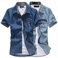 Denim shirt male short-sleeve shirt slim shirt male shirt short-sleeve top