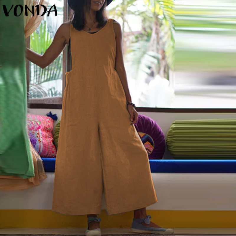 VONDA Women Wide Leg Pants 2019 Autumn Rompers Womens Jumpsuit Sexy V Neck Sleeveless Cotton Playsuits Casual Overalls Trousers