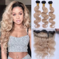 Guanyuhair #1B/27 Body Wave Dark Roots Indian Virgin Human Hair 3 Bundles Extensions with 13x4 Lace Frontal Closure Ear to Ear
