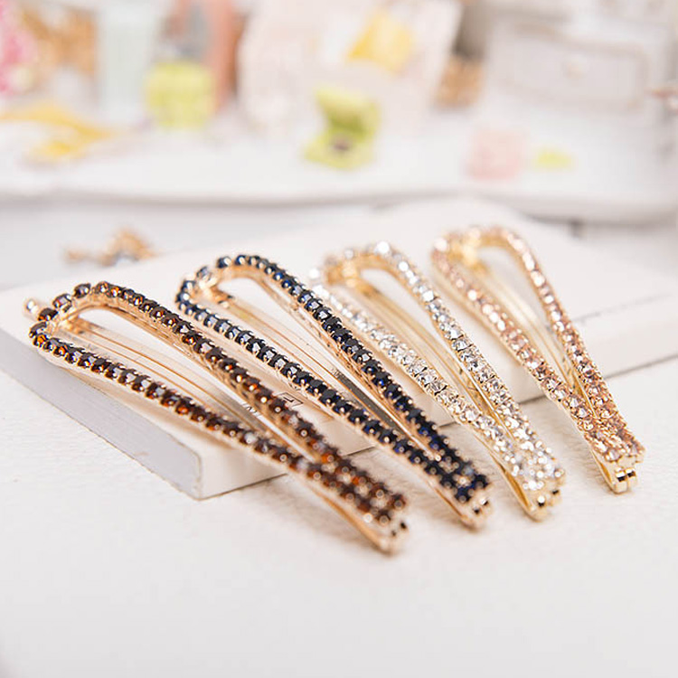 1 pcs Fashion Women Ladies Girls U-Shaped Crystal Rhinestone Hairpin Hair Clip Headdress Headwear Barrettes Gift 1pc fashion lovely women girl metal leaf hair clip crystal hairpin barrette headwear christmas party hair accessory 2016 hot