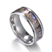 EKUSTYEE Cheap Vintage Stainless Steel Rings Men Classic Elegant Retro Wedding Rings For Women Girls Width 8mm Anillos Mujer