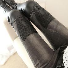 2017 г., весна-осень женщин тонкий PU штаны серые кожаные шить Leopard патч джинсы карандаш женский