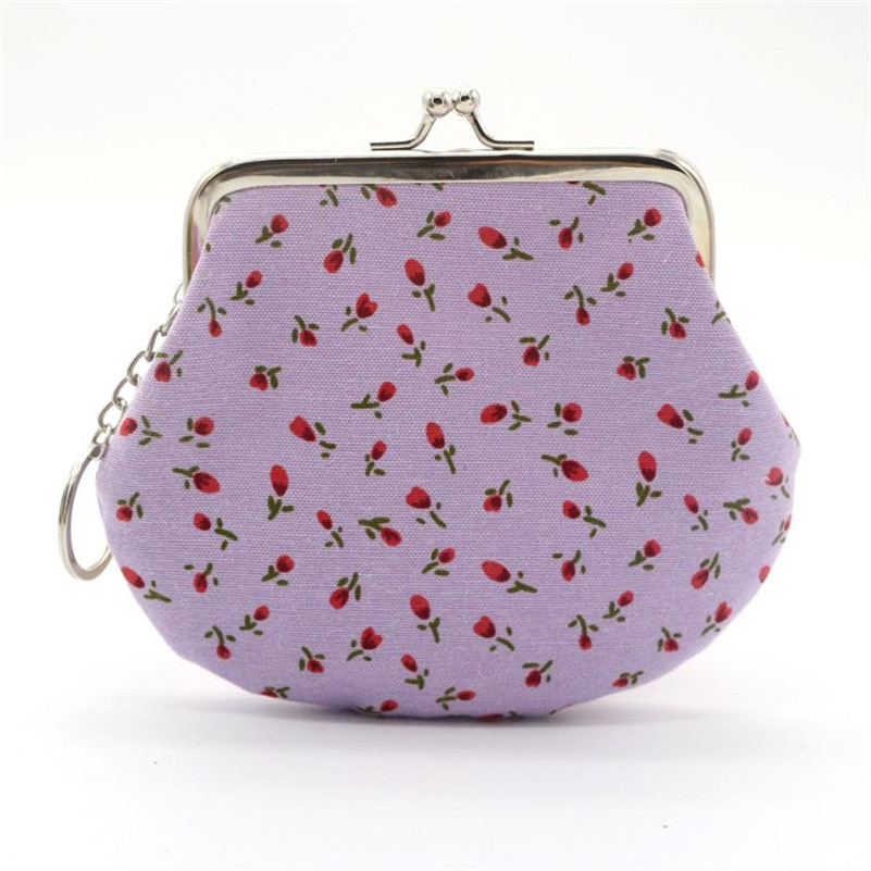 2017 New Women Retro Vintage Flower Small Wallet Bag Female Change Key Card Holder  Money Small Portable Coin Purses