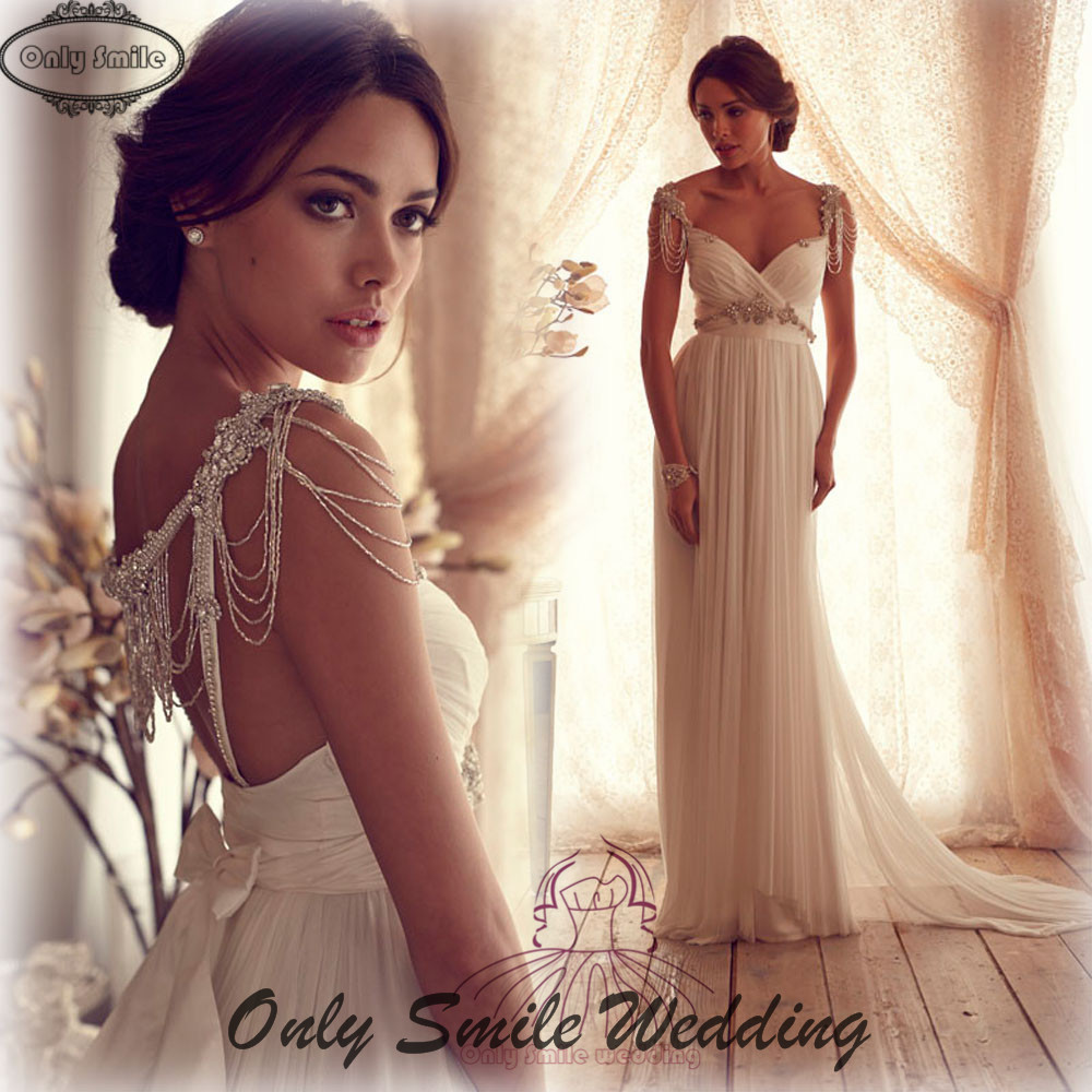 Zj1907 Low Back Y Sweetheart Neckline Anna Campbell Luxurious Rhinestone Crystal Sequin Wedding Dress 2016 In Dresses From Weddings Events On