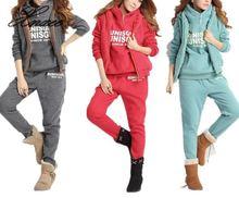 дешево!  Случайные 3 шт. Комплект спортивный костюм женская одежда 2019 зима дамы утолщаются спортивные костю
