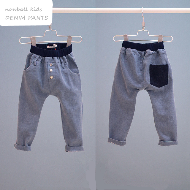 Children's clothing hot-selling soft denim harem boy pants casual long trousers cactus embroidery ripped hole light blue women vintage jeans denim harem pants casual 2017 fashion mid waist loose long trousers
