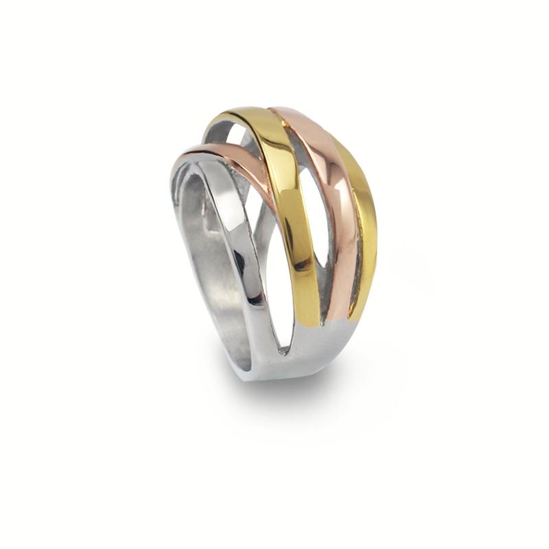 c799dff7f77f 3 colores geométricos líneas anillo acero mujeres moda joyería Color plata  oro Color rosa Color oro anillo Tamaño 7 8 6 9