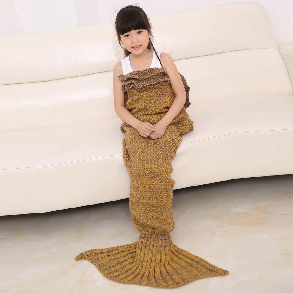 140cm Mermaid Blanket Knitted Mermaid Sleeping Bag Kids Sleeping Bag Knitted Blanket Sofa Wrap Sleeping Bag 4 Colors Available