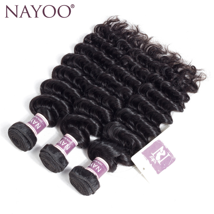 NAYOO Deep Wave Peruvian Hair Weave Bundles 1 Piece 100% Human Hair Weave 8-26 Non Remy Hair Natural Color