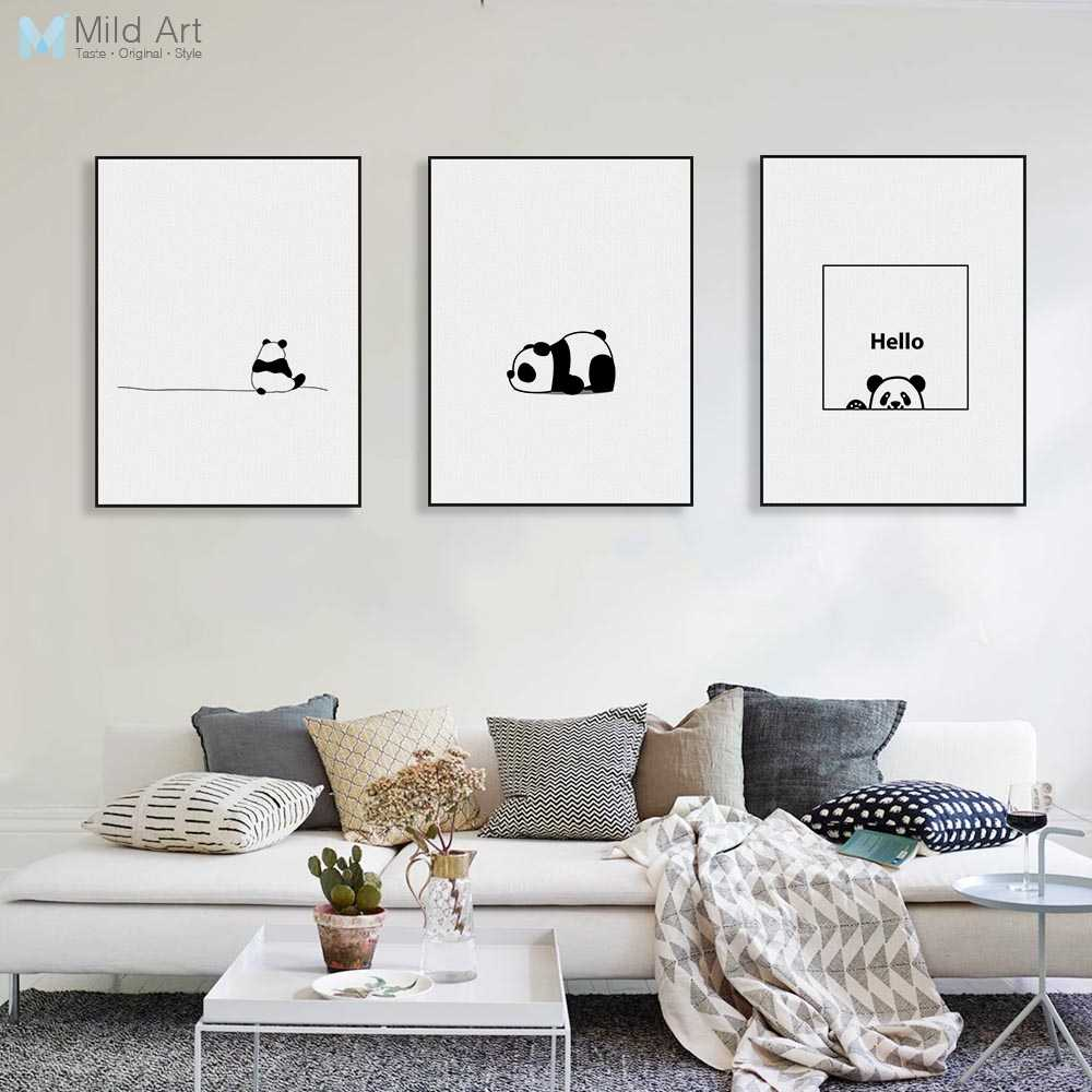 Black and White Minimalist Kawaii Animal Panda Posters Prints Nordic Kids Baby Room Wall Art Pictures Home Decor Canvas Painting