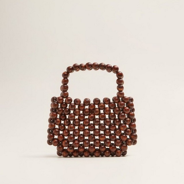 Wood Bead Handmade Vintage Purses Handbags For Lady Party Evening Bags Round Beaded Small Pochette