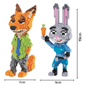HC Magic Blocks Anime Zootopia DIY Building Bricks Fox 3D Auction Model Toy Micro Blocks Rabbit Kids toys Girls Gifts 9011-9012