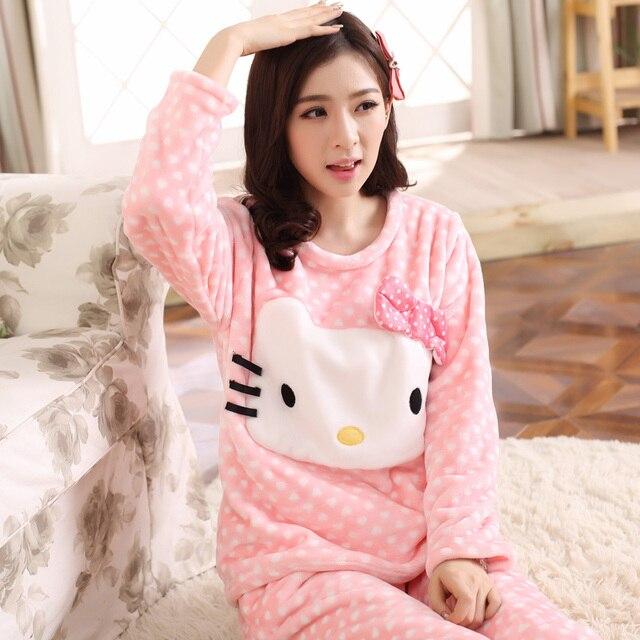 И зимой милый мультфильм животных Ватки Коралла Пижамы толщиной с длинными рукавами костюм одежда фланель пижамы Домашнего Интерьера Ms.