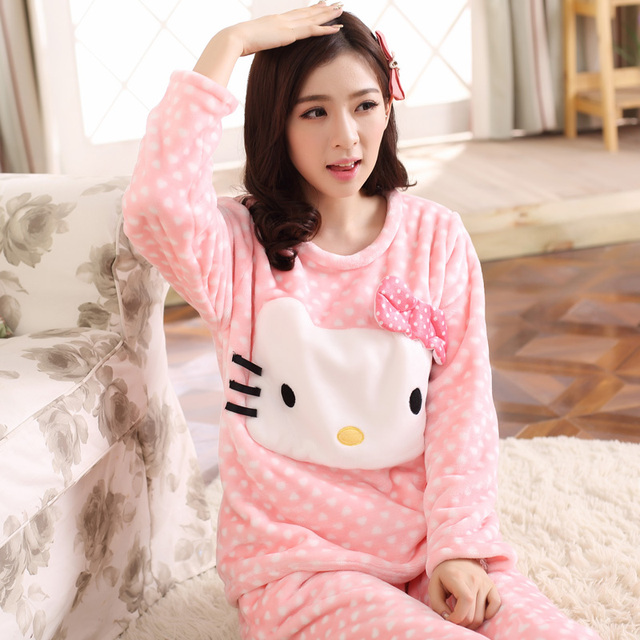 and winter cute cartoon animal Coral Fleece Pajamas thick long sleeved suit wear flannel pajamas Home Furnishing Ms.