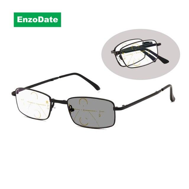 b9df504e57a Progressive Transition Photochromic Folding Reading Glasses Anti Blue Ray  Computer Foldable UV400 Sunglasses No Line Gradual