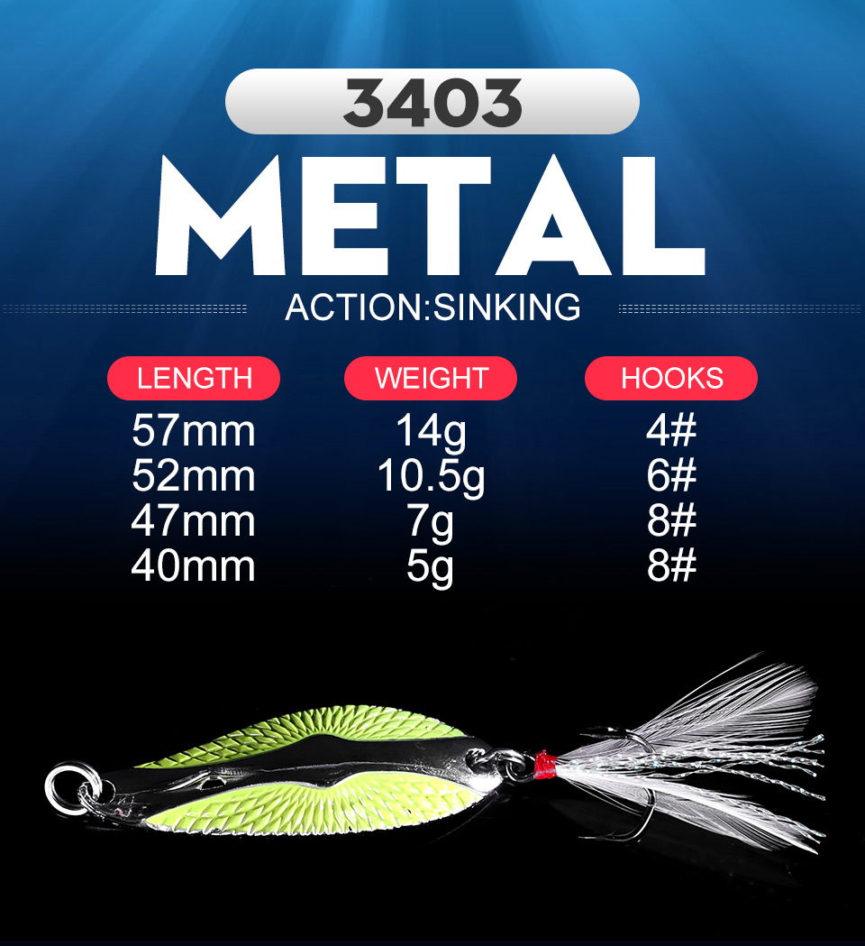 Kingdom Metal Lure Spinner Spoon Fishing Lures Hard Baits 1PC Full Aqueous Layer Metal Material With Feather Hook Fishing Tackle (1)