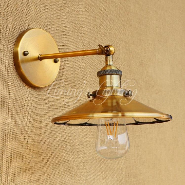 Golden Retro Edison Wall Sconce Loft Style Industrial Vintage Wall Lamp Iron Mirror Glass Wall Light Fixtures Indoor Lighting