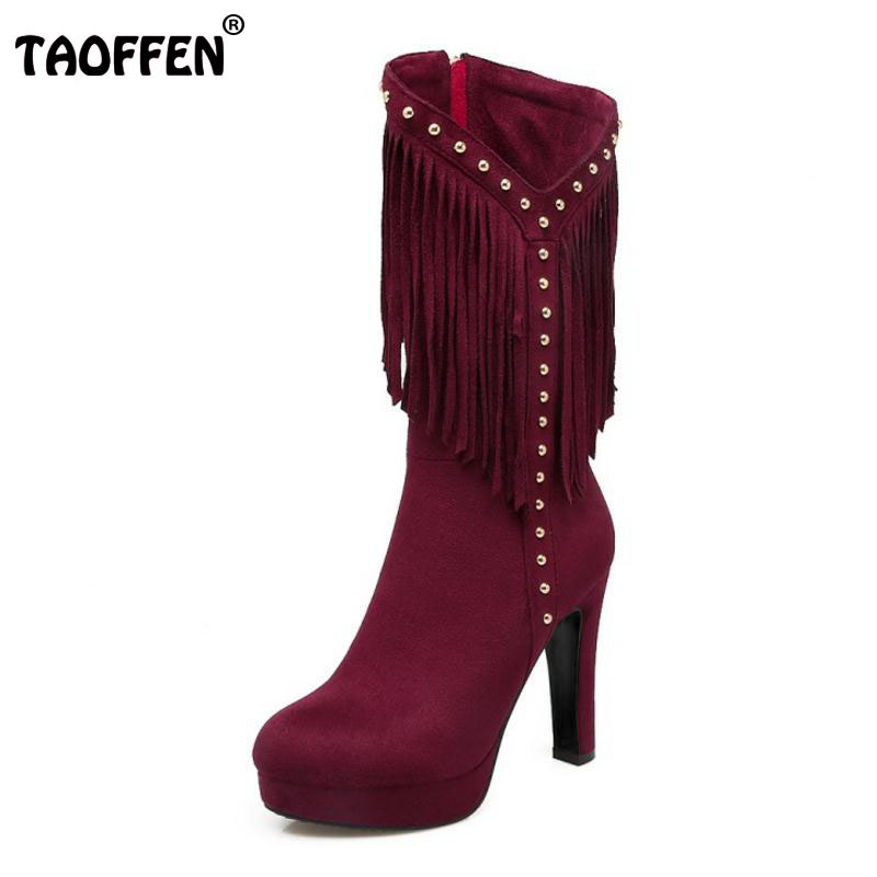TAOFFEN Size 33-43 Fashion Winter Shoes Women Thick High Heel Mid Calf Winter Boots For Women Tassels Rivets Zip Sexy Warm Botas shiningthrough size 33 43 winter women boots thick high heels round toe platform shoes solid pu leather mid calf boots